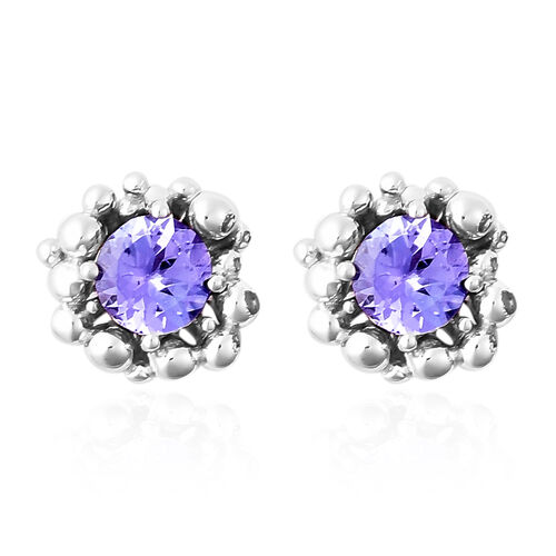 LucyQ Bubble Collection - Tanzanite Stud Earrings (with Push Back) in Rhodium Overlay Sterling Silve