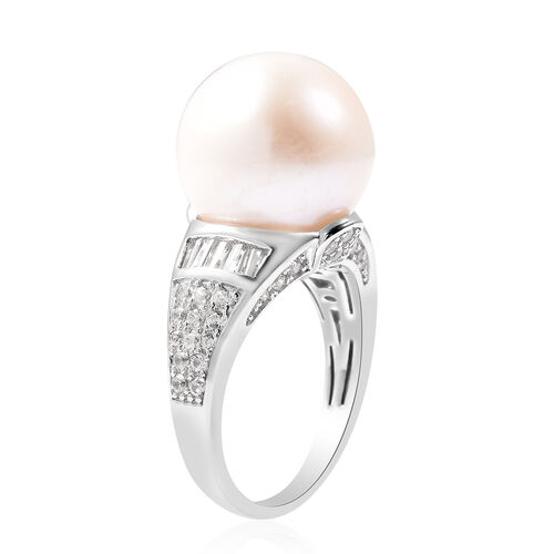 Edison Pearl and Natural Cambodian Zircon Ring in Rhodium Overlay Sterling Silver