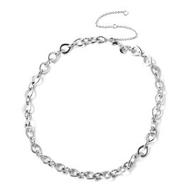 RACHEL GALLEY Rhodium Overlay Sterling Silver Love Link Necklace (Size 16 with 4 inch Extender), Sil