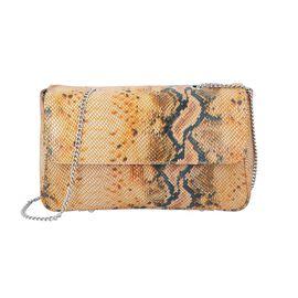 100% Genuine Leather Snake Print Crossbody Sling Bag (Size 26.5x7.5x17.5 Cm) - Mustard