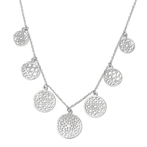 Designer Inspired Rhodium Plated Sterling Silver Floral Disc Necklace (Size 18), Silver wt. 8.01 Gms.