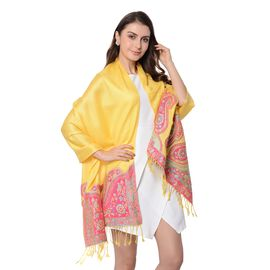 Yellow Colour Paisley Pattern Scarf with Tassels (Size 180x68+8 Cm)