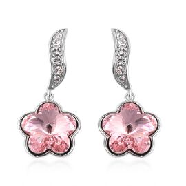 J Francis - Crystal from Swarovski Simulated Pink Crystal and White Crystal Earrings in Rhodium Over