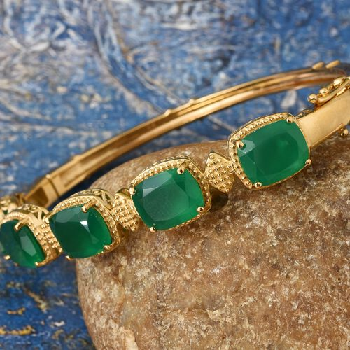 Verde Onyx (Cush 11x9MM) Bangle (Size 7.5) in 14K Gold Overlay Sterling Silver 18.250 Ct. Silver wt 19.00 Gms.