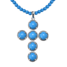 54.25 Ct Blue Howlite and Blue Quartz Beaded Cross Pendant with Beads Chain in Platinum Plated