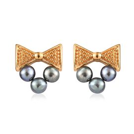 Freshwater Peacock Pearl (Rnd) Earrings (with Push Back) in 14K Gold Overlay Sterling Silver 2.75 Ct