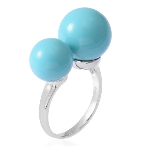 One Time Deal- Designer Inspired- ELANZA Simulated Turquoise Adjustable Ring in Rhodium Overlay Sterling Silver