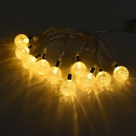225 Cm Long 10 Piece Ball LED String Lights - White (3xAA Battery not Included)
