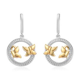 Platinum and Yellow Gold Overlay Sterling Silver Butterfly Earrings (with Push Back)