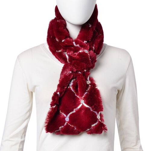 Designer Inspired - Red Colour with Sequins Faux Fur Infinity Scarf (Size 80x20 Cm)