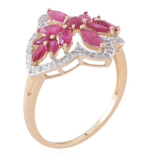 Designer Inspired 9K Yellow Gold AAA Burmese Ruby (Rnd), Natural Cambodian Zircon Ring 3.500 Ct.