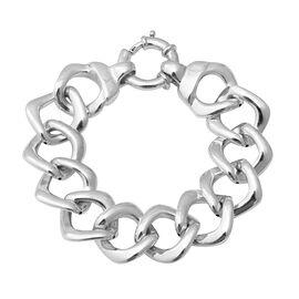 Designer Inspired- Rhodium Overlay Sterling Silver Curb Bracelet (Size 8), Silver wt 23.16 Gms