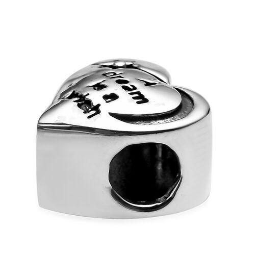Charmes De Memoire Platinum Overlay Sterling Silver Engraved Heart Charm, Silver wt 3.85 Gms