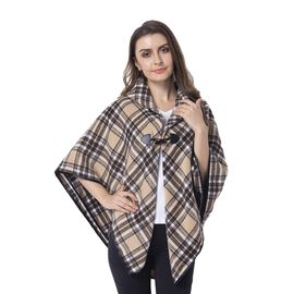 One Time Close Out Deal- Beige, Black and White Colour Double Layer Plaid Pattern Cape (Size 99x76 C