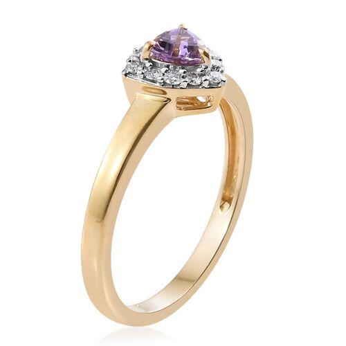 14K Y Gold AA Pink Tanzanite (Trl), Diamond Ring 0.500 Ct.