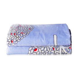 New Season- Luxury Microfiber Flannel Printed Blanket with Tree Pattern in Light Blue and White Colour (Size 200x150 Cm)