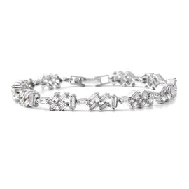 ELANZA Simulated Diamond Bracelet in Rhodium Plated Silver 7.80 Grams 6.75 Inch