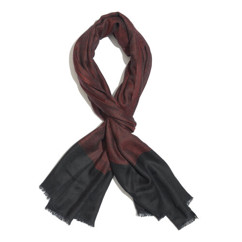 Limited Available - 100% Cashmere Wool Pin Checks Pattern Red and Black Colour Scarf with Fringes (Size 200x70 Cm)