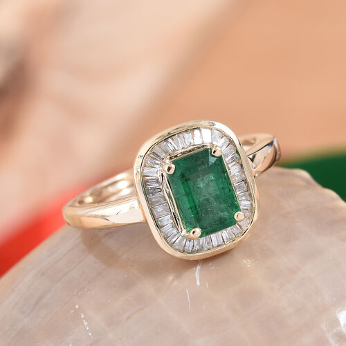 9K Yellow Gold AA Kagem Zambian Emerald (Oct 7x5 mm), Diamond Ring 1.150 Ct.