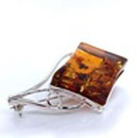 Natural Baltic Amber Brooch in Sterling Silver, Silver wt 8.99 Gms