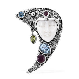 Princess Bali Collection OX Bone Carved Face (Pear), Blue Topaz, African Ruby and Hebei Peridot Pend