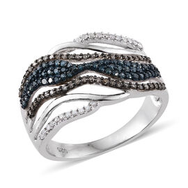 Blue Diamond (Rnd), Natural Champagne Diamond and White Diamond Ring in Platinum Overlay Sterling Si