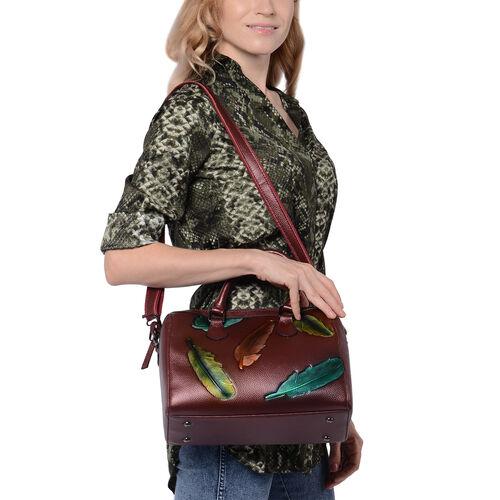 100% Genuine Leather Leaf Printed Handbag with Detachable Shoulder Strap (Size 29x11x23cm) - Bronze