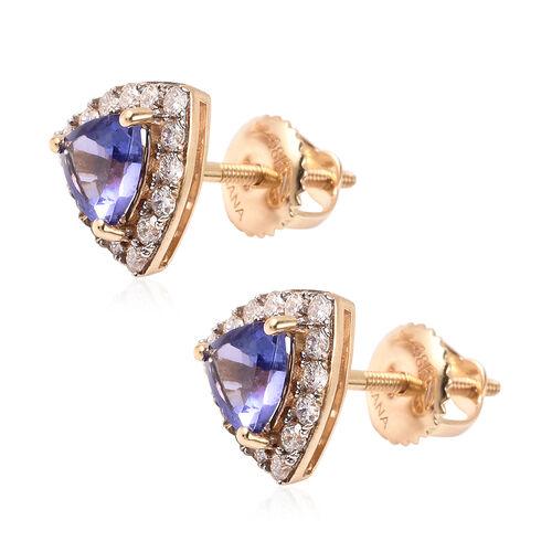 ILIANA 18K Yellow Gold AAA Tanzanite and Diamond (SI/G-H) Earrings (with Screw Back) 1.09 Ct.