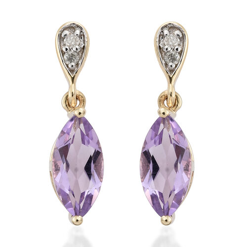 9K Yellow Gold AA Rose De France Amethyst (Mrq), Diamond Earrings (with Push Back) 1.350 Ct.
