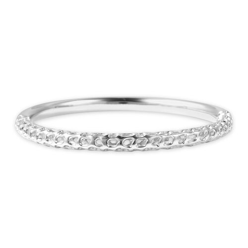 RACHEL GALLEY Allegro Latic Work Stacker Bangle in Rhodium Plated Silver 6.5 Inch