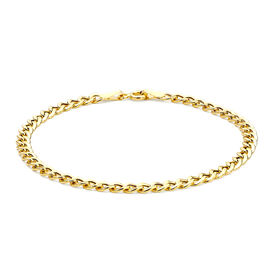 Hatton Garden Close Out  9K Yellow Gold Curb Bracelet (Size 7)
