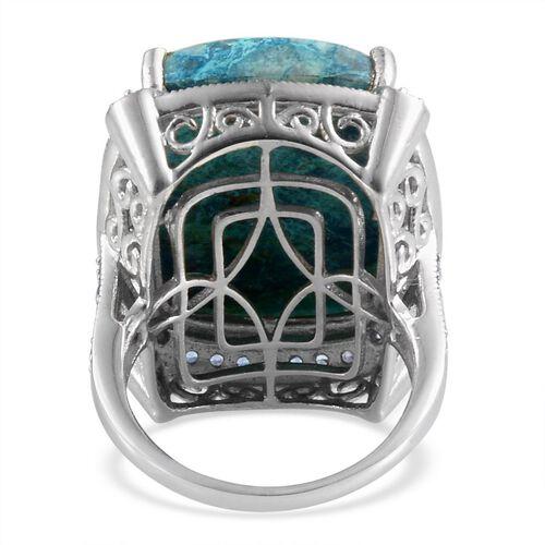Table Mountain Shadowkite (Cush 22.25 Ct), Kanchanaburi Blue Sapphire Ring in Platinum Overlay Sterling Silver 23.150 Ct.