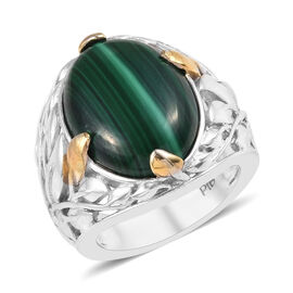 14 Ct Malachite Solitaire Ring in Platinum and Yellow Gold Plated