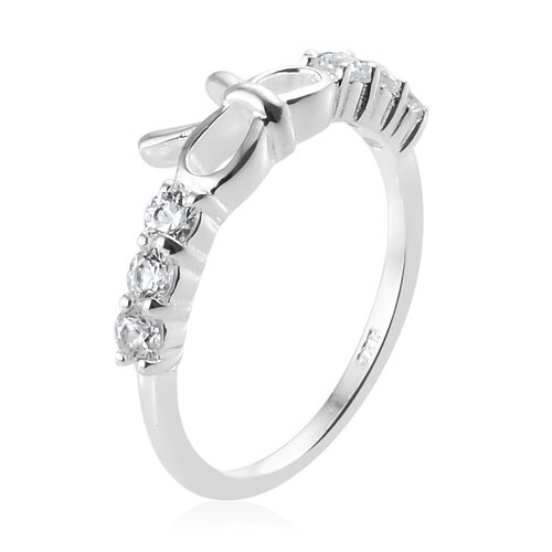 J Francis - Sterling Silver (Rnd) Bow Ring Made with SWAROVSKI ZIRCONIA