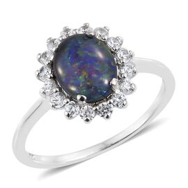 Australian Boulder Opal (Ovl), Natural Cambodian Zircon Ring in Platinum Overlay Sterling Silver