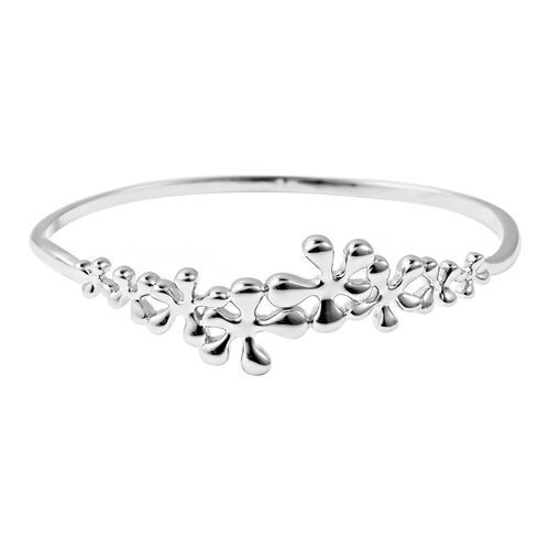 LucyQ Splash Collection - Rhodium Overlay Sterling Silver Bangle (Size 7)