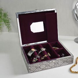 3D Embossed Collection Handcrafted Elephant Oxidised Jewellery Box (Size 28x22.8Cm) with Mirror and