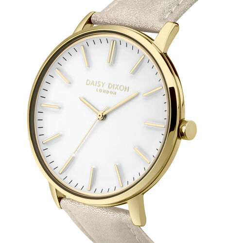 Daisy Dixon Harper Nude Metallic Strap With Overside Gold Case & White Dial Ladies Watch