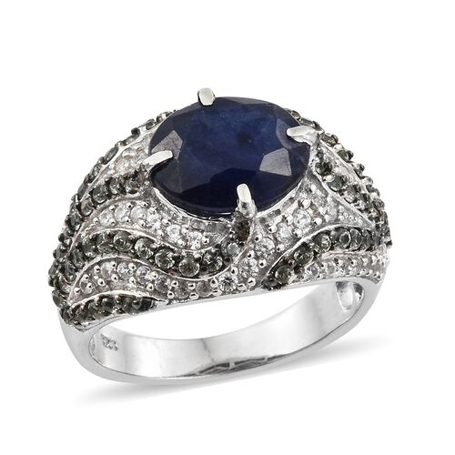 Masoala Sapphire (Ovl 5.00 Ct), Green Sapphire and Natural Cambodian Zircon Ring in Platinum Overlay Sterling Silver 6.750 Ct. Silver wt 8.31 Gms. Number of Gemstone 125