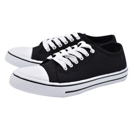 Black Star Canvas Lace Up Trainers (Size 3)