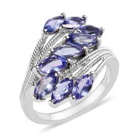 2 Carat Tanzanite Bypass Ring in Platinum Plated Sterling Silver