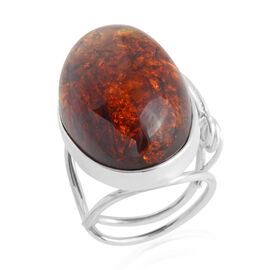 Bi Colour Baltic Amber Adjustable Solitaire Ring in Sterling Silver 7 Grams