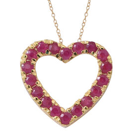Burmese Ruby (Rnd) Heart Pendant with Chain in 14K Gold Overlay Sterling Silver 2.350 Ct.