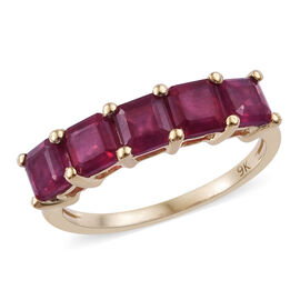 TJC Launch-9K Yellow Gold AAA African Ruby (Asscher) 5 Stone Ring 2.350 Ct.