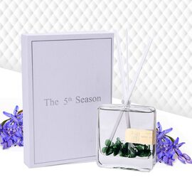 The 5th Season - 100ml Square Diffuser with Real Flowers in Gift Box- Green (Fragrance Wild Bluebell