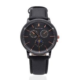 Thomas Calvi Black Faux Multi Dial Watch in Black Tone with Black Strap