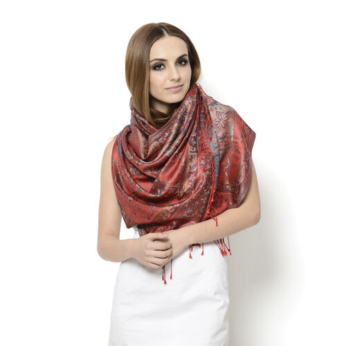 100% Superfine Silk Multi Colour Floral Pattern Red Colour Jacquard Jamawar Scarf with Fringes (Size