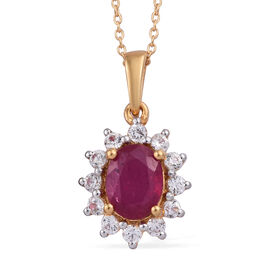 African Ruby (Ovl 1.75 Ct), Natural Cambodian Zircon Pendant With Chain (Size 20) in 14K Gold Overlay Sterling Silver 2.250 Ct.