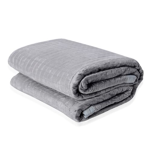 Micro Mink Reverse Matte Satin Quilt with Small Checker Quilting Pattern 240x260cm in Grey Colour