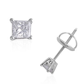 ILIANA 18K White Gold EGL Certified (SI/G-H) Diamond (Princess) Stud Earrings (with Screw Back) 0.25